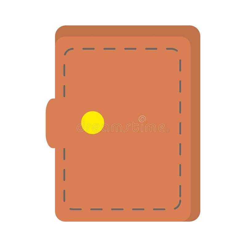 Значок бумажника изолированный деньгами иллюстрация штока