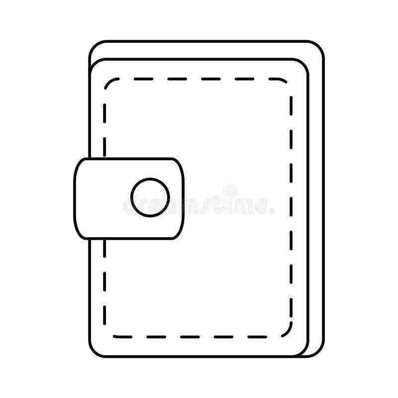 Значок бумажника изолированный деньгами иллюстрация вектора