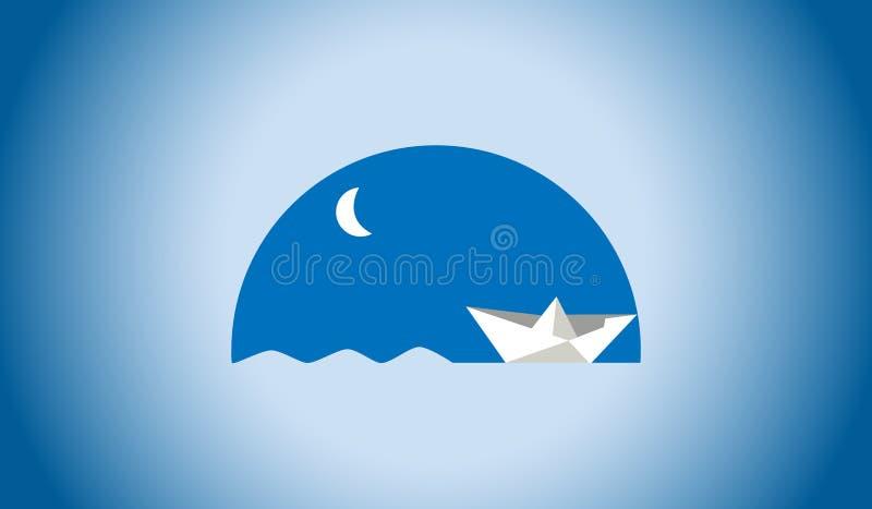 Значок бумажного плавания шлюпки в ночи иллюстрация штока