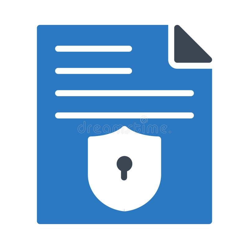 Значок вектора безопасного цвета глифа файла плоский иллюстрация штока