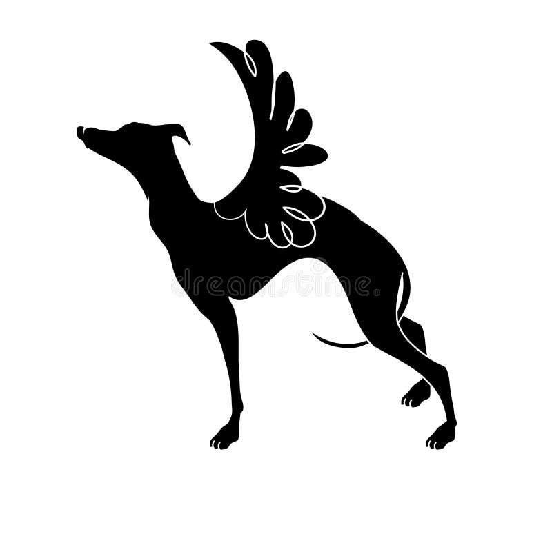 Значок вектора, борзая Борзая породы собаки с крыльями Элегантный силуэт борзой иллюстрация вектора