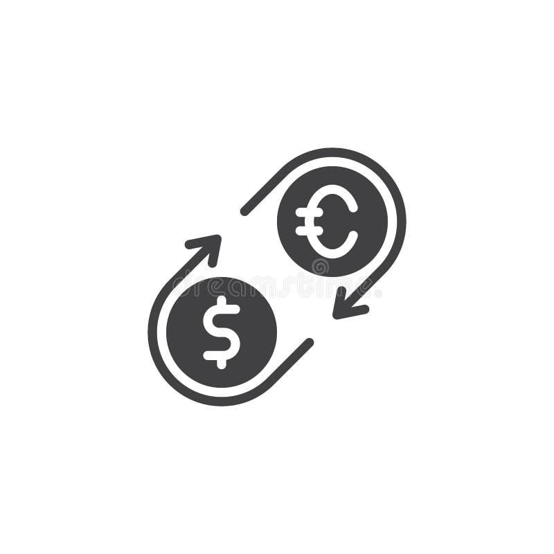 Значок вектора евро и девизов в долларах иллюстрация штока