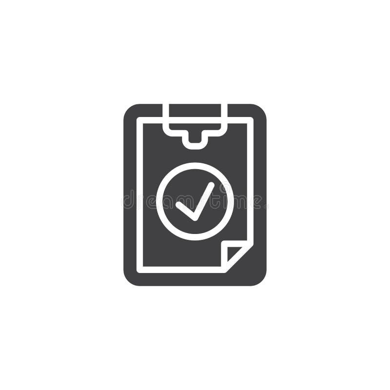 Значок вектора контрольной пометки контрольного списока иллюстрация штока