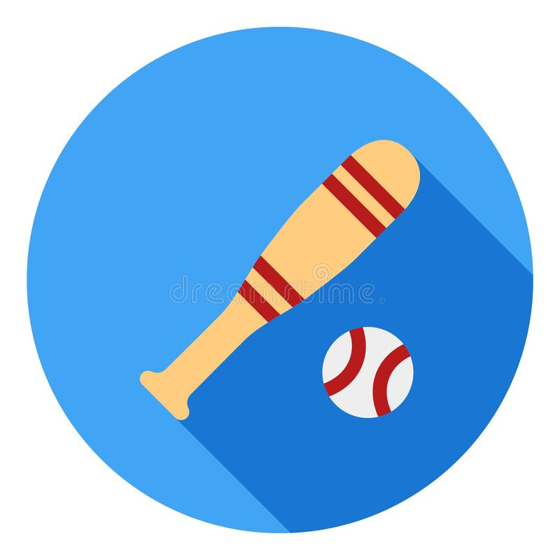 Значок вектора спорта бейсбола, значок ручки бейсбола, символ спорт Современный, плоский длинный значок вектора тени бесплатная иллюстрация