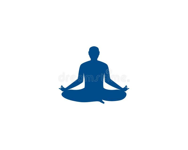 Значок вектора шаблона логотипа йоги раздумья иллюстрация вектора