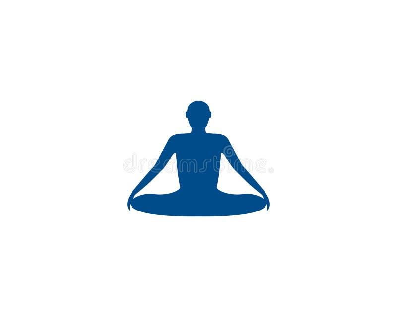Значок вектора шаблона логотипа йоги раздумья бесплатная иллюстрация