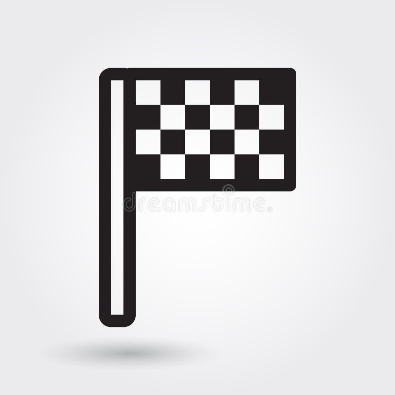 Значок вектора флага финиша, значок спорт гонки, участвуя в гонке символ флага Современный, простой план, иллюстрация вектора пла иллюстрация штока