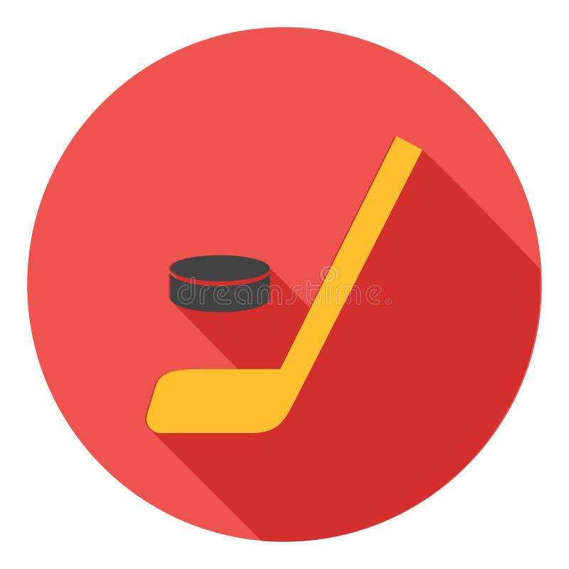 Значок вектора хоккея, значок хоккейной клюшки, символ спорта хоккея Современный, плоский длинный значок вектора тени иллюстрация штока