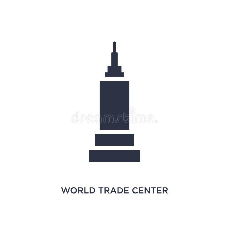 значок всемирного торгового центра на белой предпосылке Простая иллюстрация элемента от концепции зданий иллюстрация штока