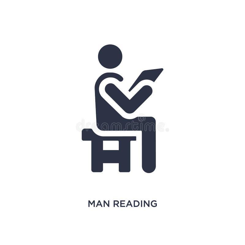 значок газеты чтения человека на белой предпосылке Простая иллюстрация элемента от концепции поведения иллюстрация вектора