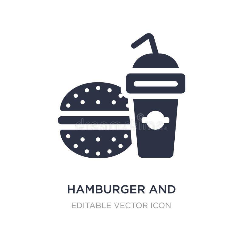 значок гамбургера и напитка на белой предпосылке Простая иллюстрация элемента от концепции еды иллюстрация штока