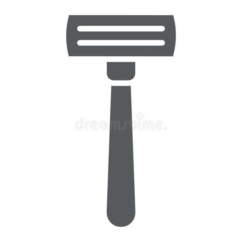 Значок глифа бритвы, парикмахер и лезвие, знак шевера, векторные графики, твердая картина на белой предпосылке бесплатная иллюстрация