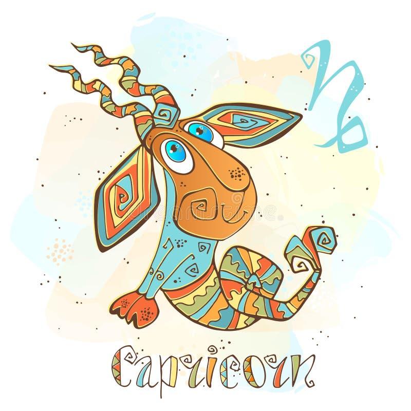 Значок гороскопа ` s детей Зодиак для детей Знак козерога вектор Астрологический символ как персонаж из мультфильма иллюстрация штока
