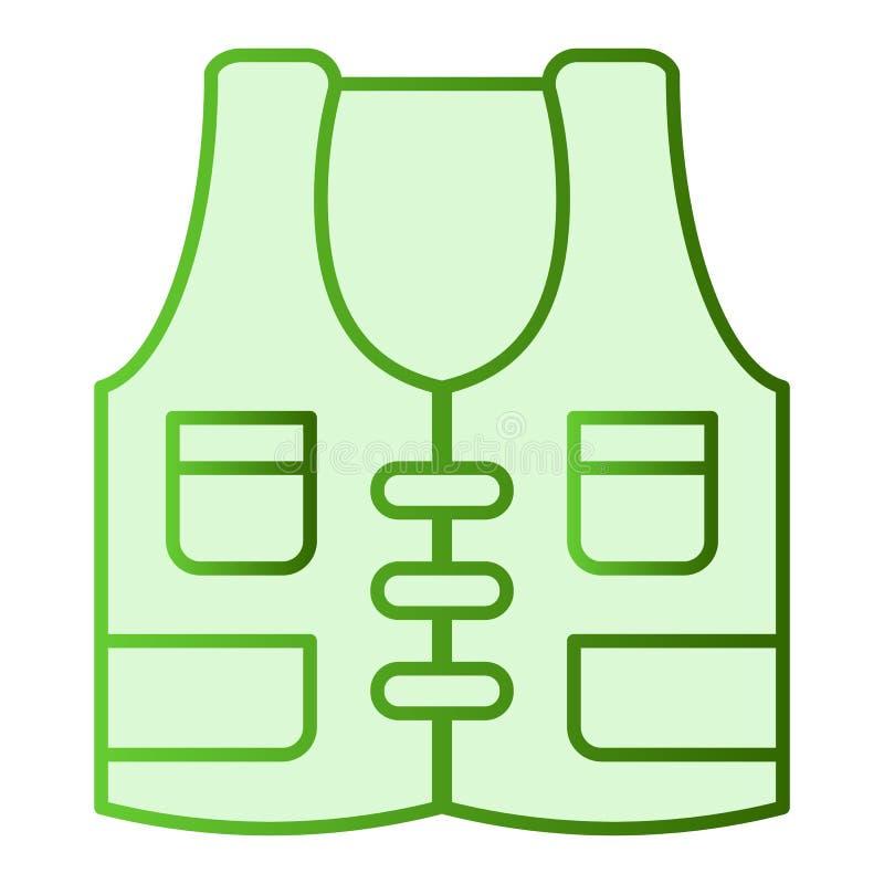 Значок жилета рыболова плоский Удить носит зеленые значки в ультрамодном плоском стиле Дизайн стиля градиента жилета охотника, ко иллюстрация вектора