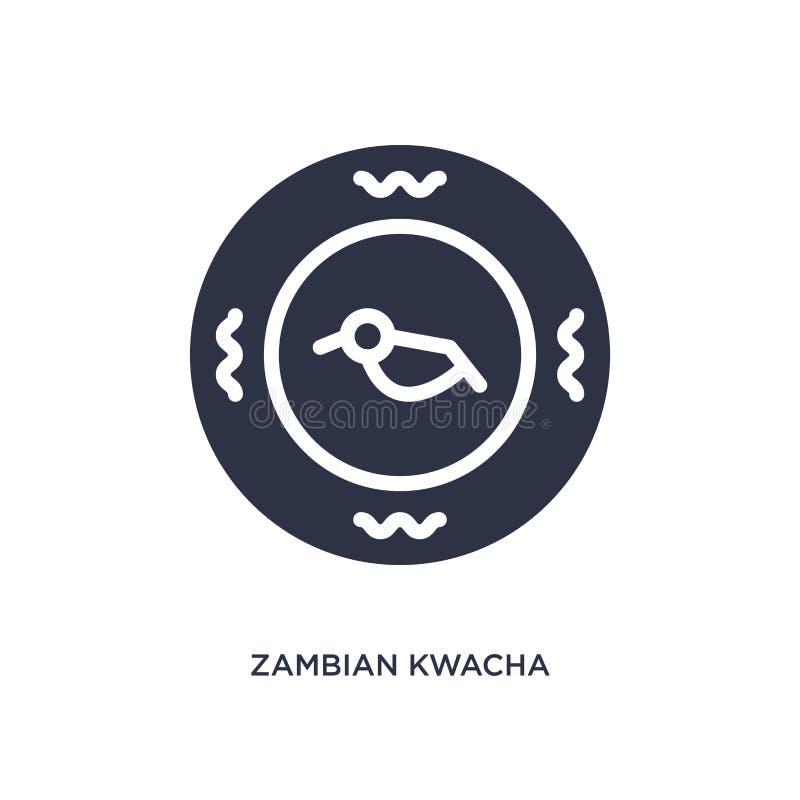 значок замбийского kwacha на белой предпосылке Простая иллюстрация элемента от концепции Африки иллюстрация штока