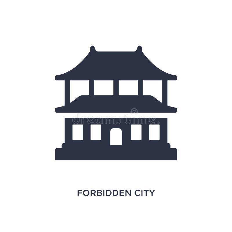 значок запретного города на белой предпосылке Простая иллюстрация элемента от азиатской концепции иллюстрация штока