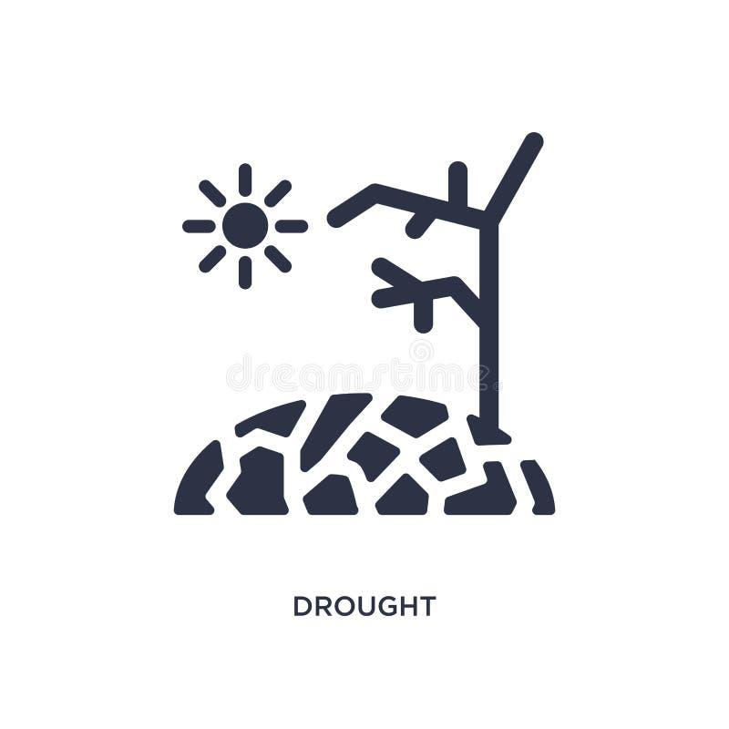 значок засухи на белой предпосылке Простая иллюстрация элемента от концепции метеорологии иллюстрация штока
