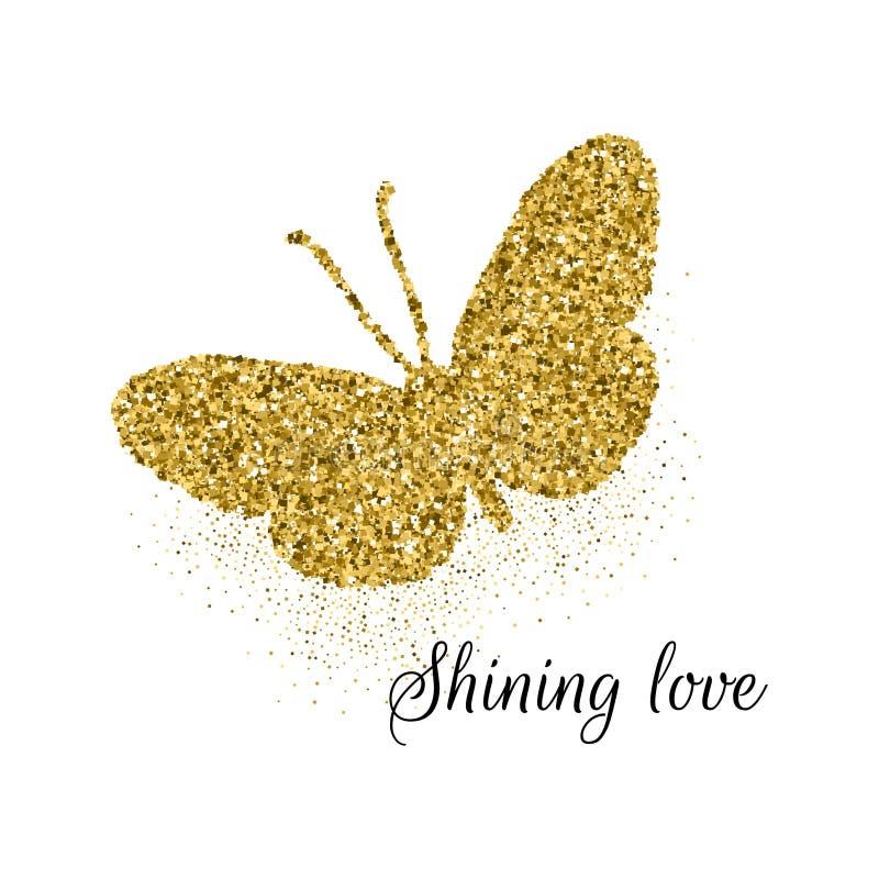 Значок золотого яркого блеска бабочки милый с любовью текста светя Силуэт красивого лета золотой на белизне Для wedding иллюстрация вектора