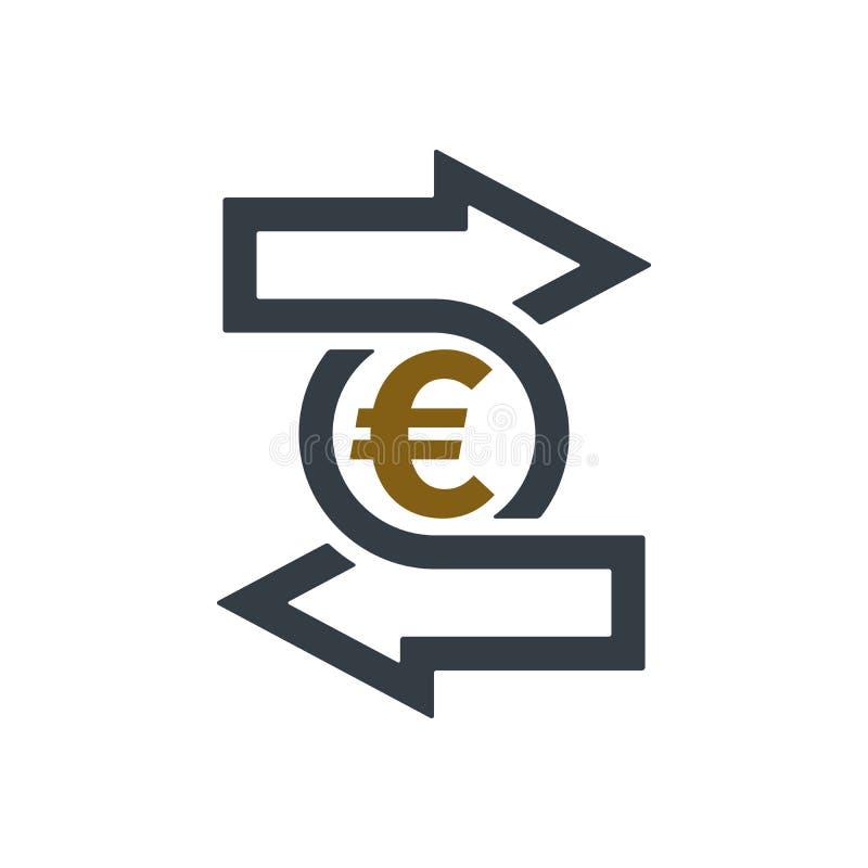 Значок изменения с символом евро иллюстрация штока