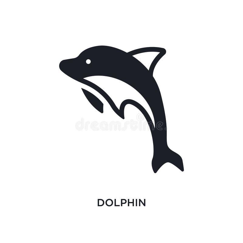 значок изолированный дельфином простая иллюстрация элемента от морских значков концепции дизайн символа знака логотипа дельфина e бесплатная иллюстрация