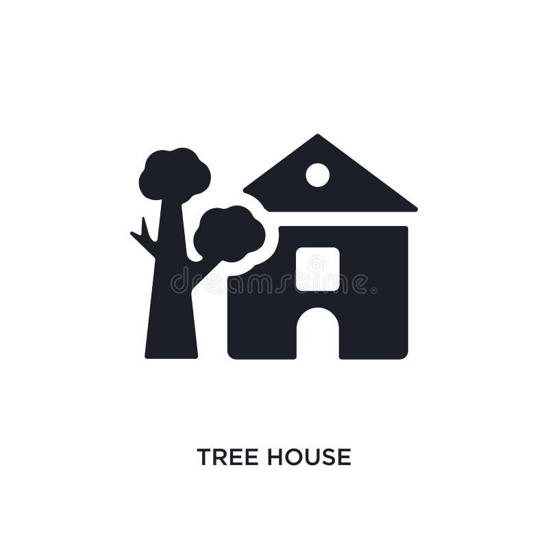 значок изолированный домом на дереве простая иллюстрация элемента от значков концепции недвижимости дизайн символа знака логотипа бесплатная иллюстрация