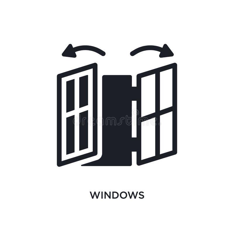 значок изолированный окнами простая иллюстрация элемента от умных домашних значков концепции дизайн символа знака логотипа окон e иллюстрация штока
