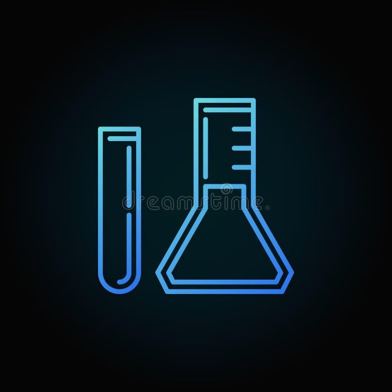 Значок или логотип плана вектора пробирки и конической склянки голубые иллюстрация штока