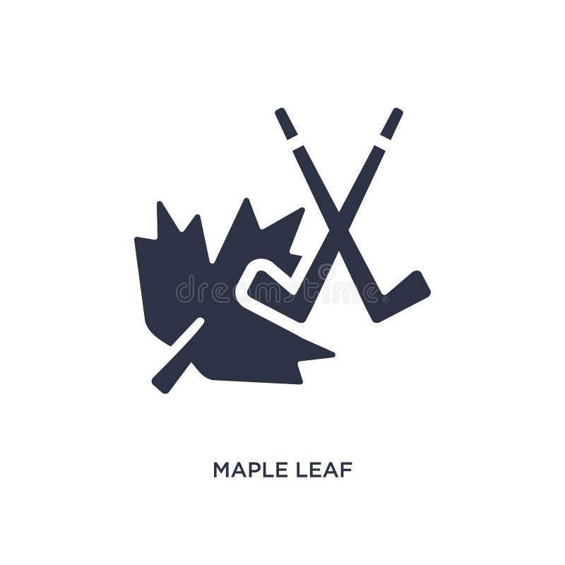 Значок кленового листа на белой предпосылке Простая иллюстрация элемента от концепции хоккея иллюстрация штока