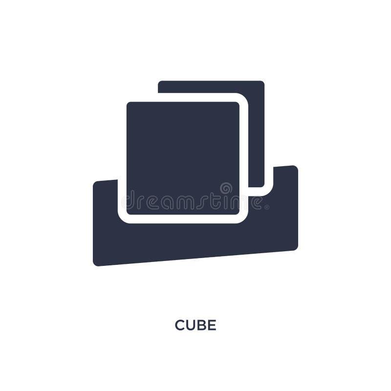 Значок куба на белой предпосылке Простая иллюстрация элемента от концепции образования 2 бесплатная иллюстрация