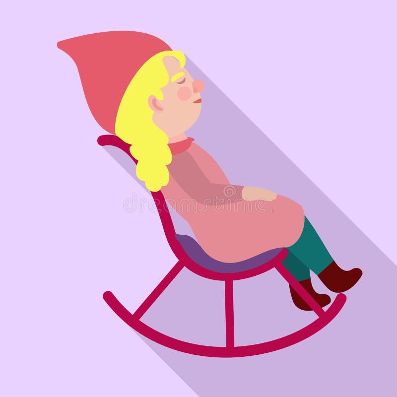 Значок кресло-качалки гнома, плоский стиль иллюстрация вектора