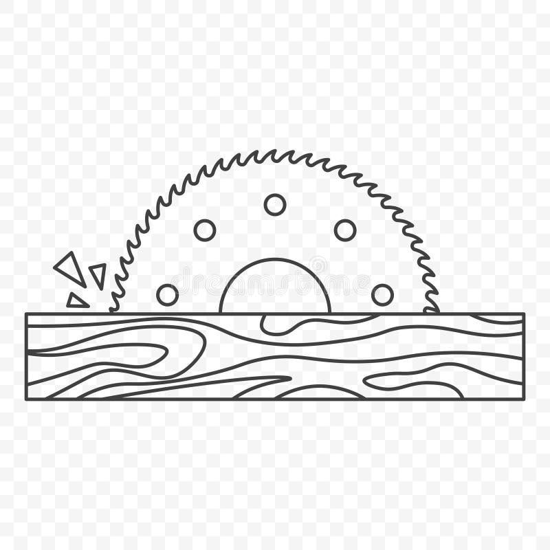 Значок круглой пилы для древесины Вектор на прозрачной предпосылке бесплатная иллюстрация