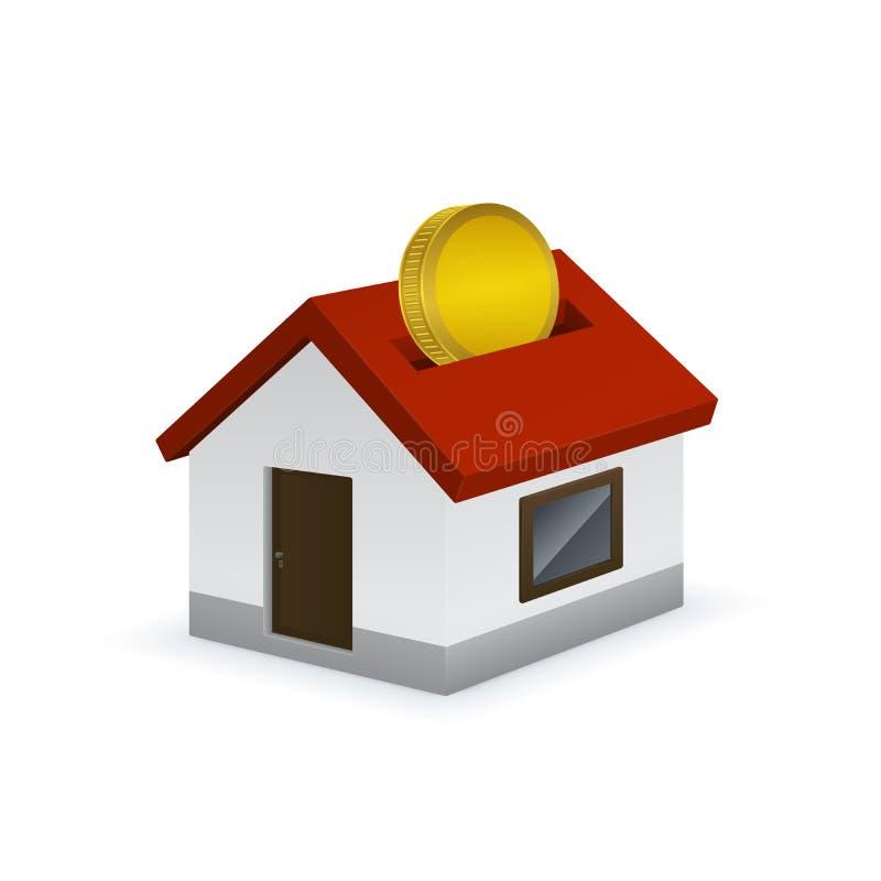 Значок копилки дома форменный с золотом иллюстрация штока