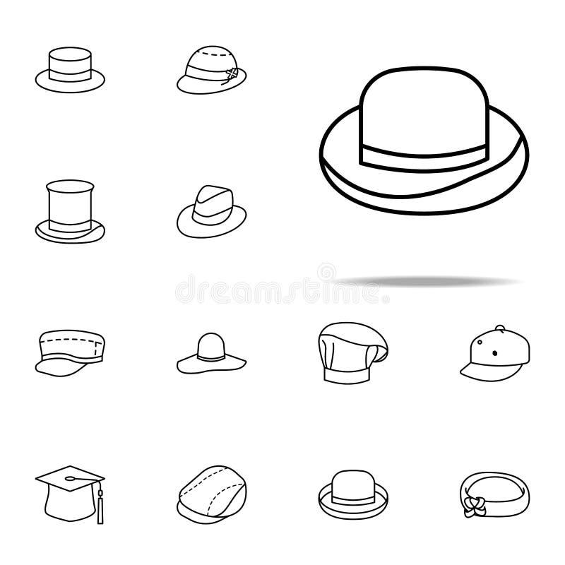 Значок котелка набор значков шляп всеобщий для сети и черни бесплатная иллюстрация