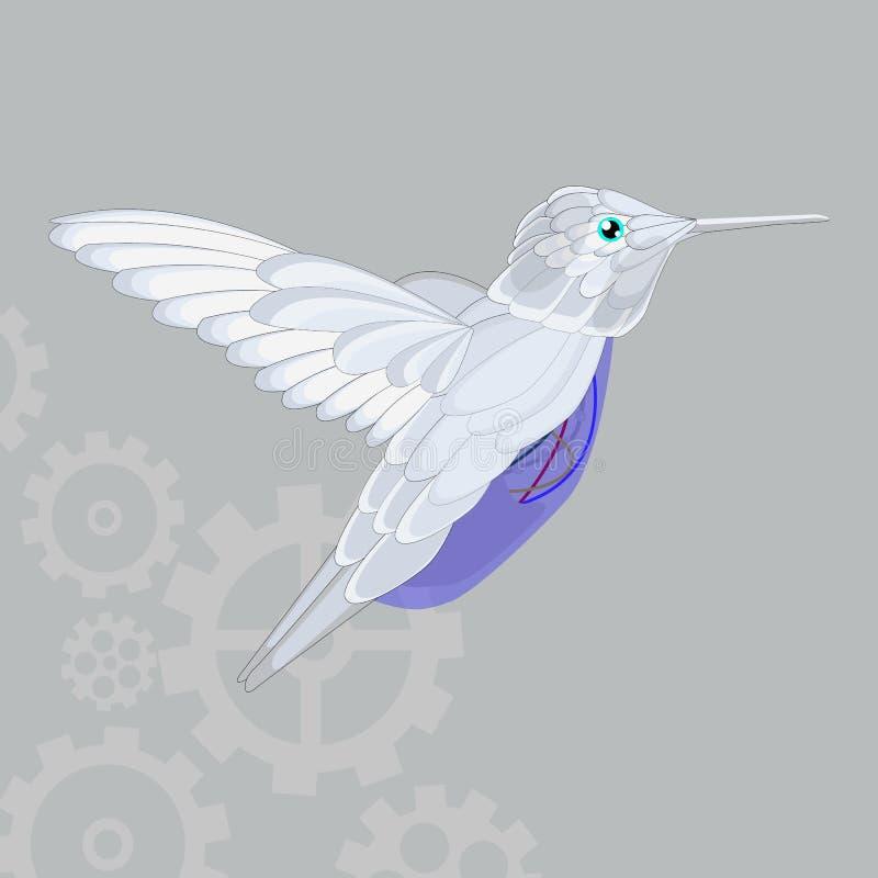 Значок летая вектора колибри на серой предпосылке Иллюстрация Colibri изолированная на сером цвете Конструированный дизайн стиля  бесплатная иллюстрация
