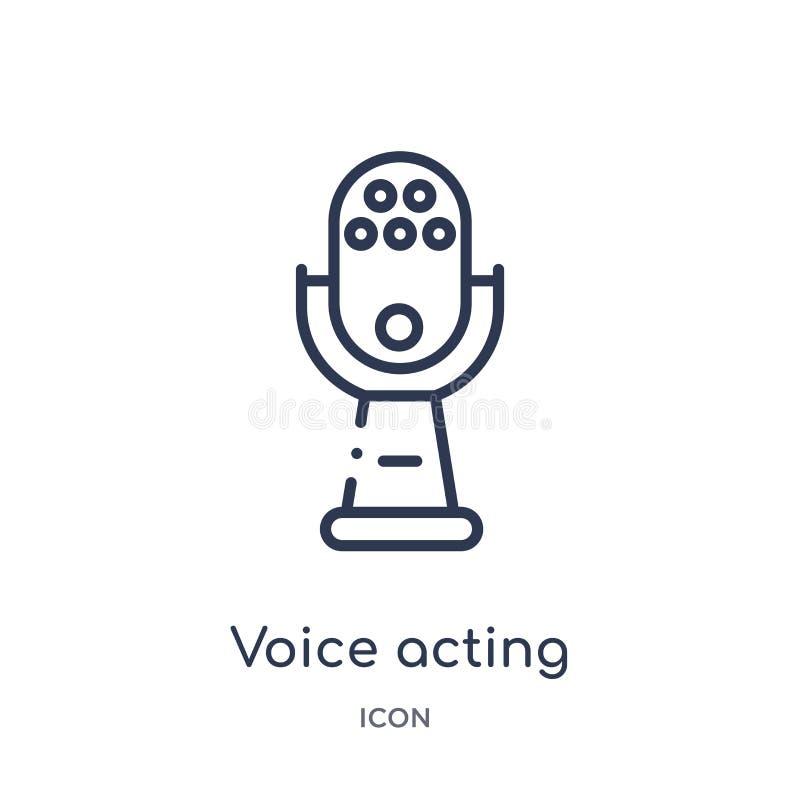 Значок линейного голоса действующий от развлечений и собрания плана аркады Тонкая линия вектор голоса действующий изолированный н иллюстрация вектора