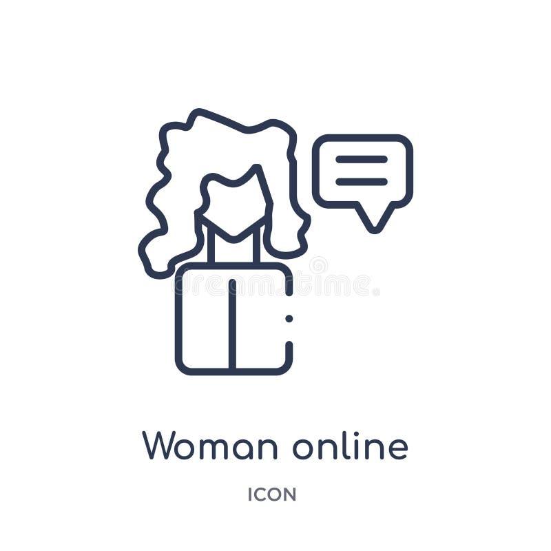 Значок линейной женщины онлайн от собрания плана кибер Тонкая линия вектор женщины онлайн изолированный на белой предпосылке Женщ иллюстрация штока