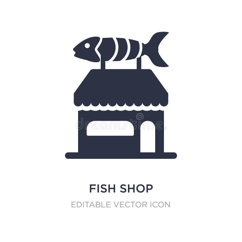 значок магазина рыб на белой предпосылке Простая иллюстрация элемента от концепции животных иллюстрация штока