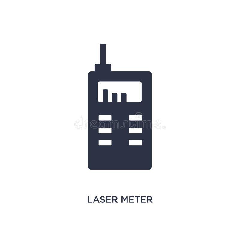значок метра лазера на белой предпосылке Простая иллюстрация элемента от концепции измерения иллюстрация штока