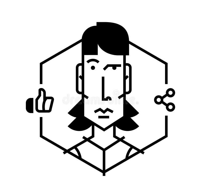 Значок милой девушки Идеальный значок для ваших кричащих дизайн-проектов Изображение изолировано на белой предпосылке Девушка воп иллюстрация штока