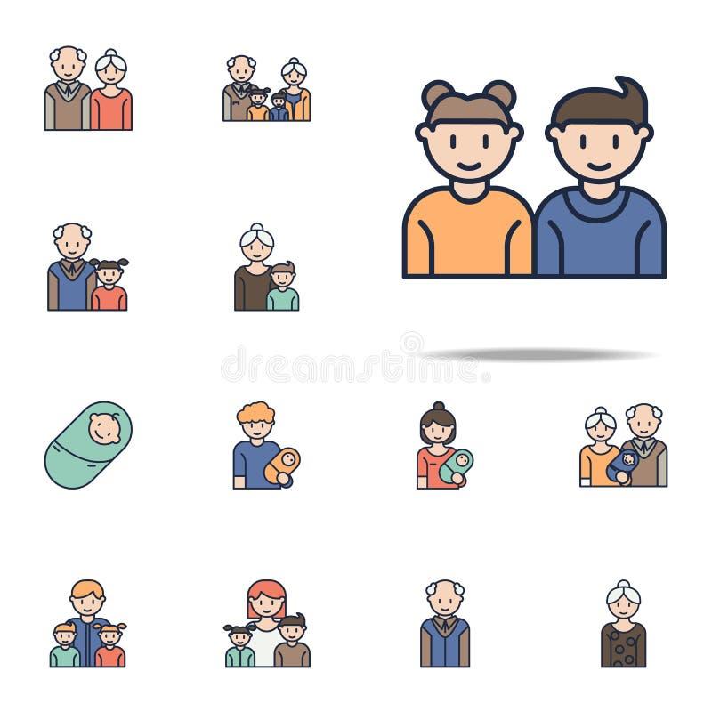 значок мультфильма брата и сестры Комплект значков семьи всеобщий для сети и черни бесплатная иллюстрация