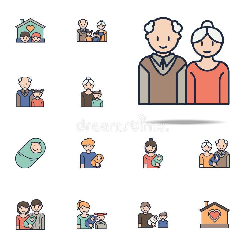 Значок мультфильма деда и бабушки Комплект значков семьи всеобщий для сети и черни иллюстрация штока