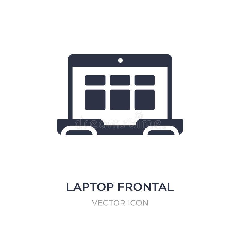 значок монитора ноутбука прифронтовой на белой предпосылке Простая иллюстрация элемента от концепции технологии иллюстрация штока
