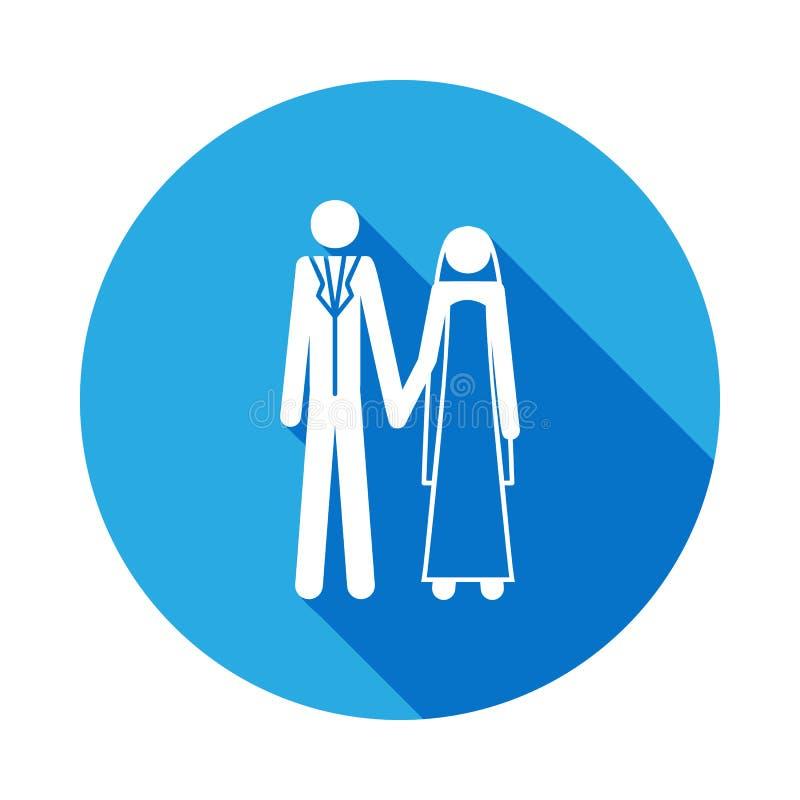 Значок новобрачных Элемент пожененной жизнью иллюстрации людей Знаки и значок для вебсайтов, веб-дизайн собрания символов на бели иллюстрация штока