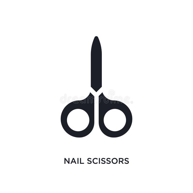 значок ногтя изолированный ножницами простая иллюстрация элемента от значков концепции гигиены символ знака логотипа ножниц ногтя иллюстрация вектора