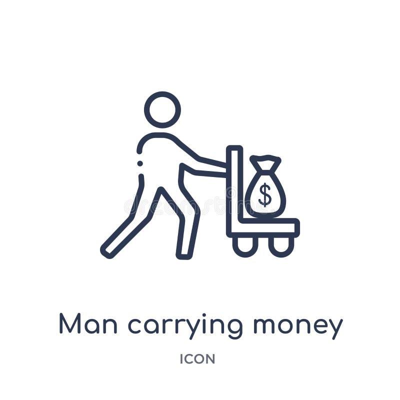 Значок нося денег линейного человека от собрания плана дела Тонкая линия значок нося денег человека изолированный на белой предпо иллюстрация штока