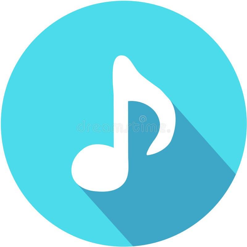 Значок примечания музыки - вектор Плоский стиль eps 10 дизайна иллюстрация вектора