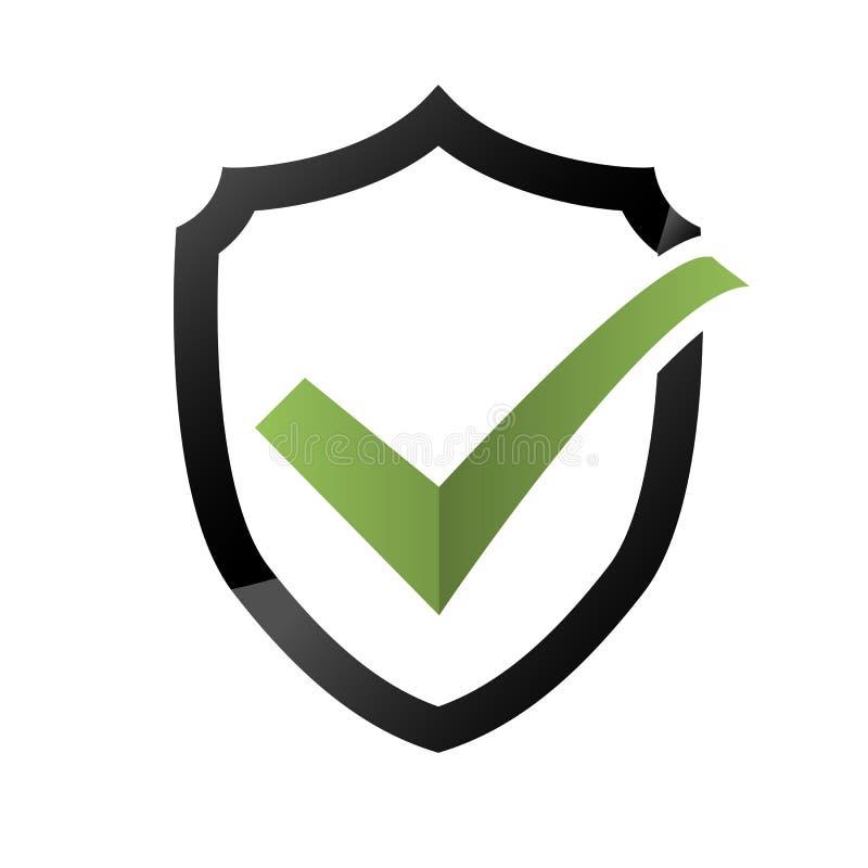 Значок проверки безопасности, логотип экрана, защищает знак Марк одобрило логотип, символ предохранителя, набор уединения системы иллюстрация штока