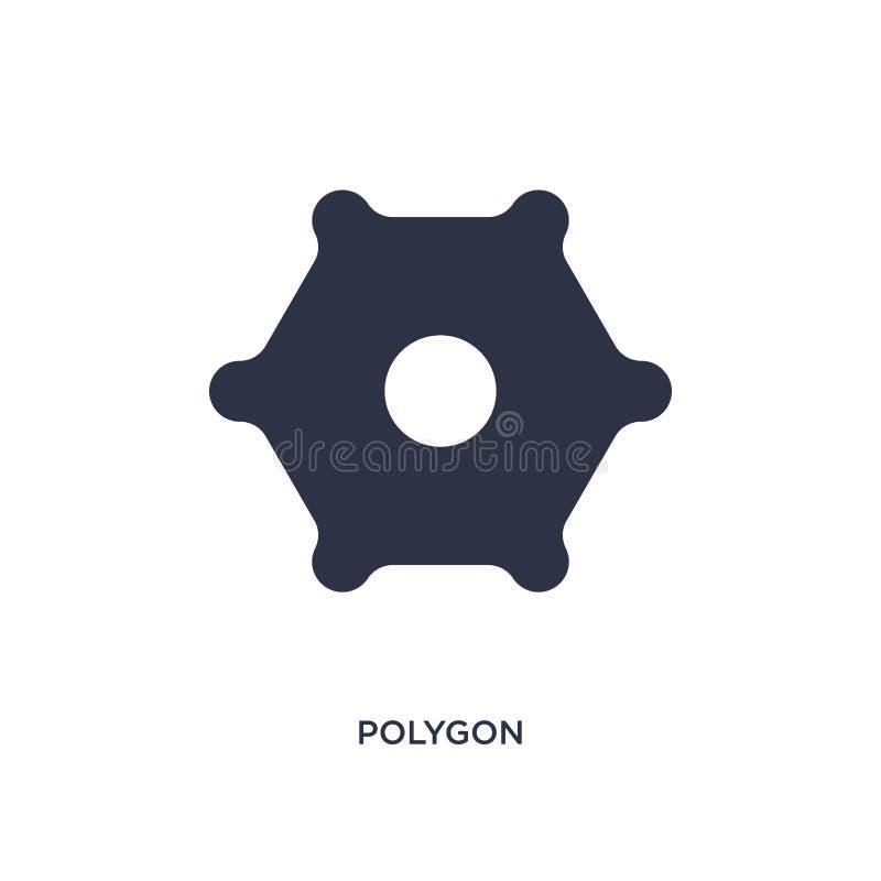 значок полигона на белой предпосылке Простая иллюстрация элемента от геометрической диаграммы концепции иллюстрация вектора