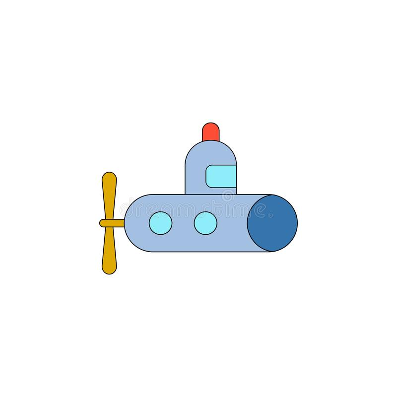 Значок подводной лодки мультфильма покрашенный игрушкой Знаки и символы можно использовать для сети, логотипа, мобильного приложе бесплатная иллюстрация