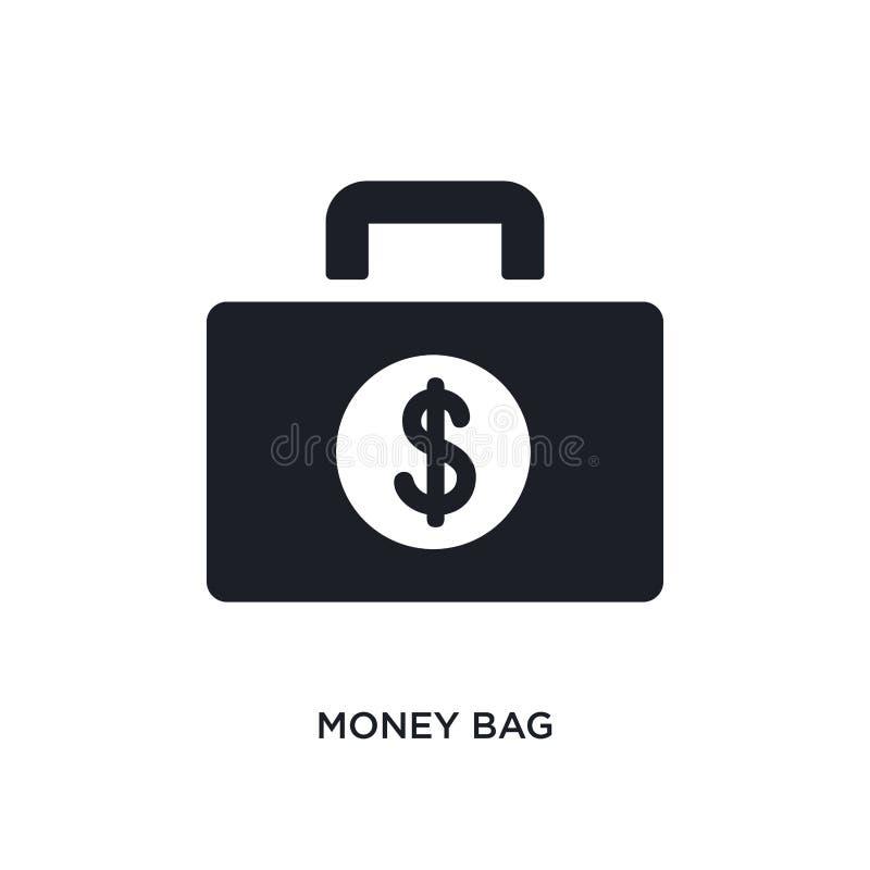 Значок денег изолированный сумкой простая иллюстрация элемента от значков концепции оплаты дизайн символа знака логотипа сумки де бесплатная иллюстрация